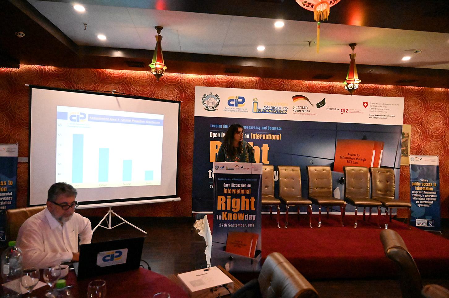 Moonus Kayinat Zahra, Program Manager CPDI shared the key findings of CPDI report on Status of RTI 2019