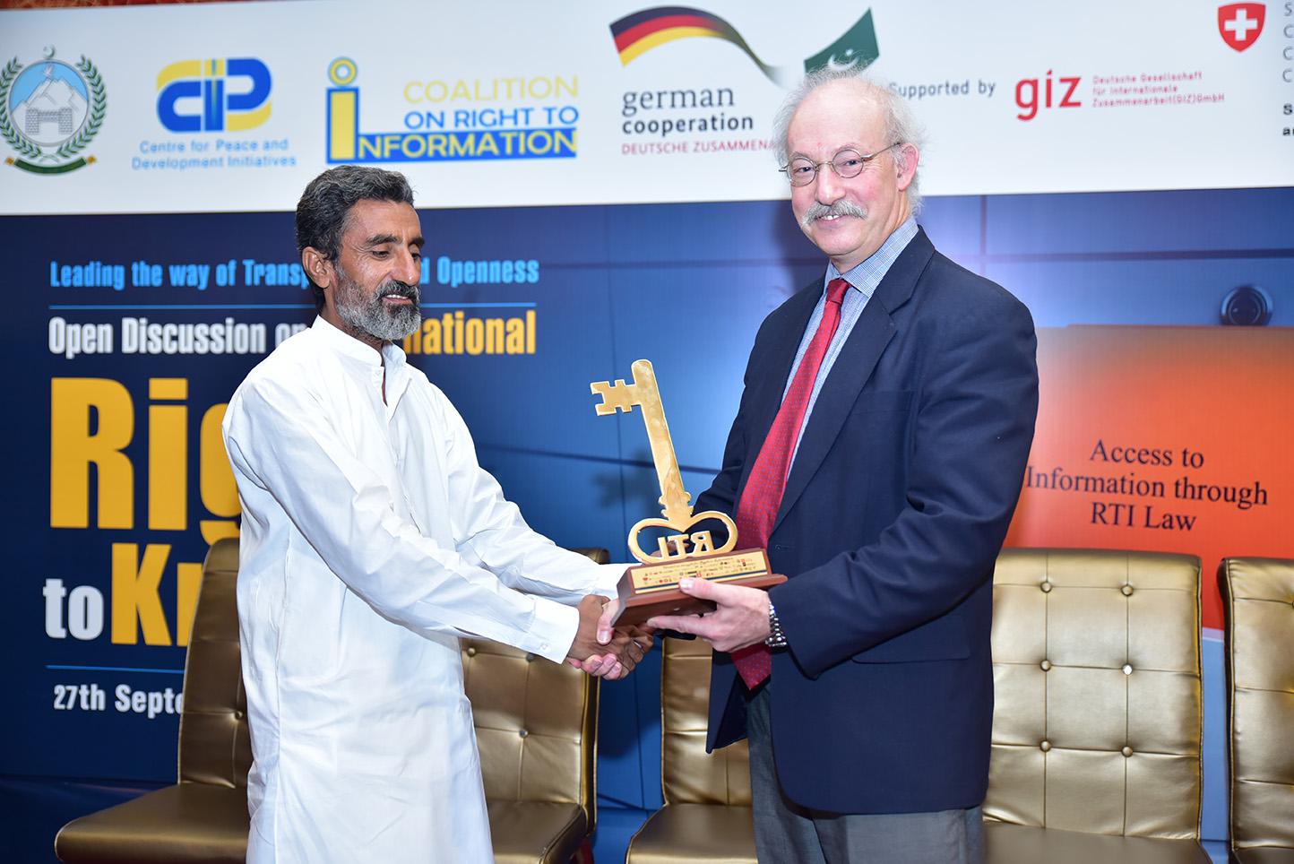 Muhammad Akmal won the RTI Champion Award 2019 in Journalist Category