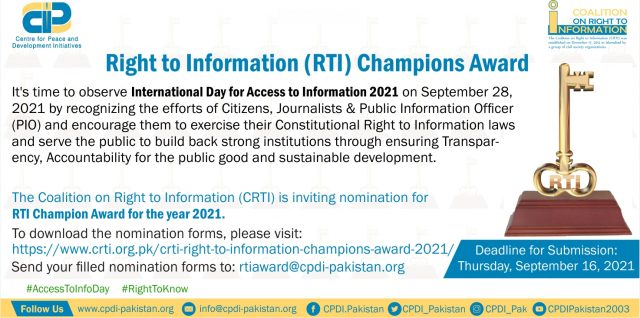 Nominations Invited for CRTI Right to Information Champion Awards 2021